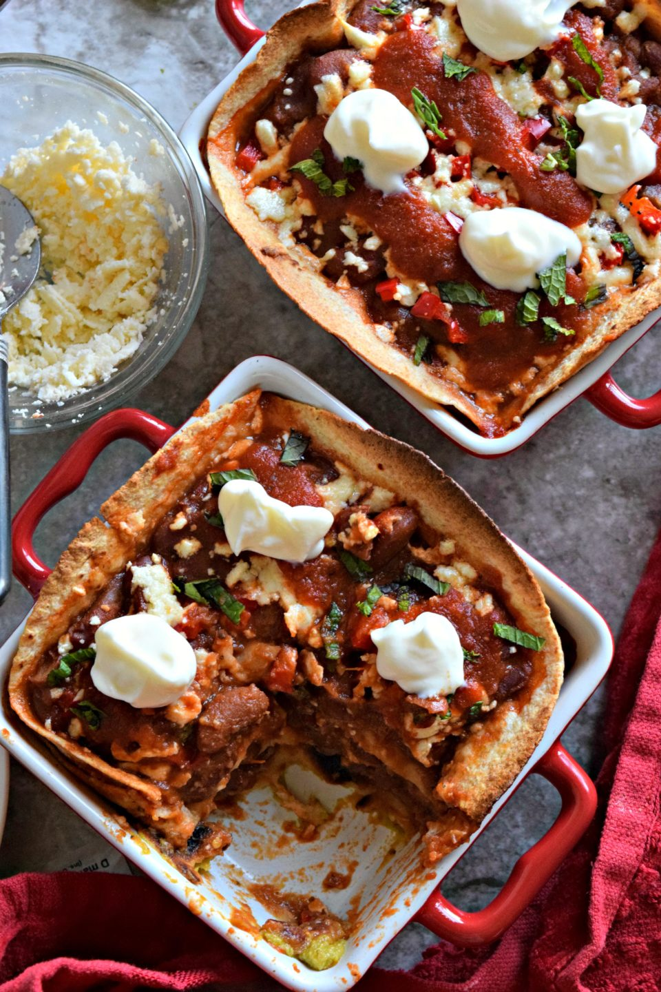 Rajma/Kidney Beans Enchilada Mini Casserole is a perfect weeknight dish!Beans, cheese, tortillas & sauce are the ideal ingredients to make a delicious meal.
