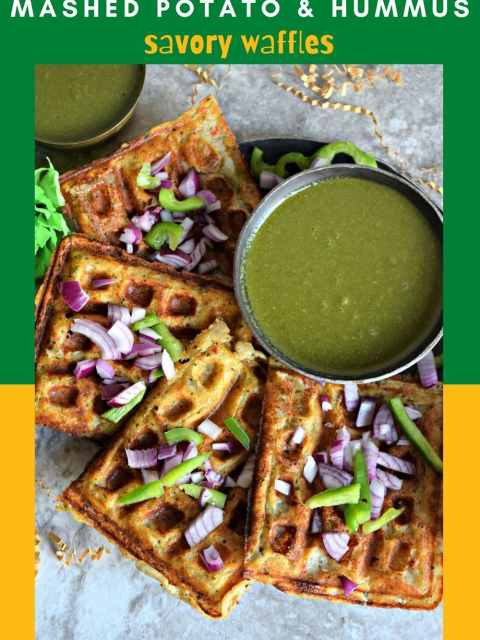 Mashed Potato Hummus Waffles placed one after the other on a round plate with a bowl of chutney next to it with text at the top