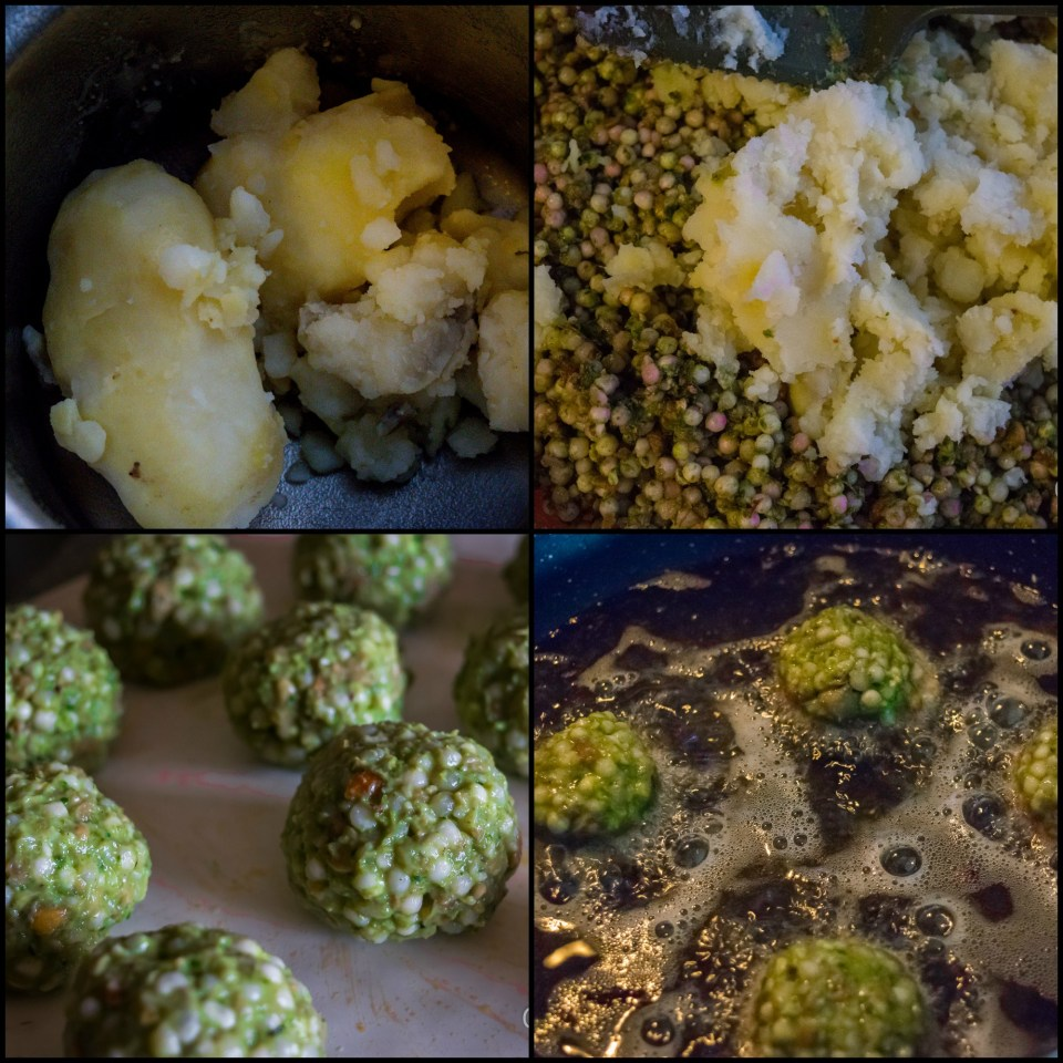frying of sabudana wada