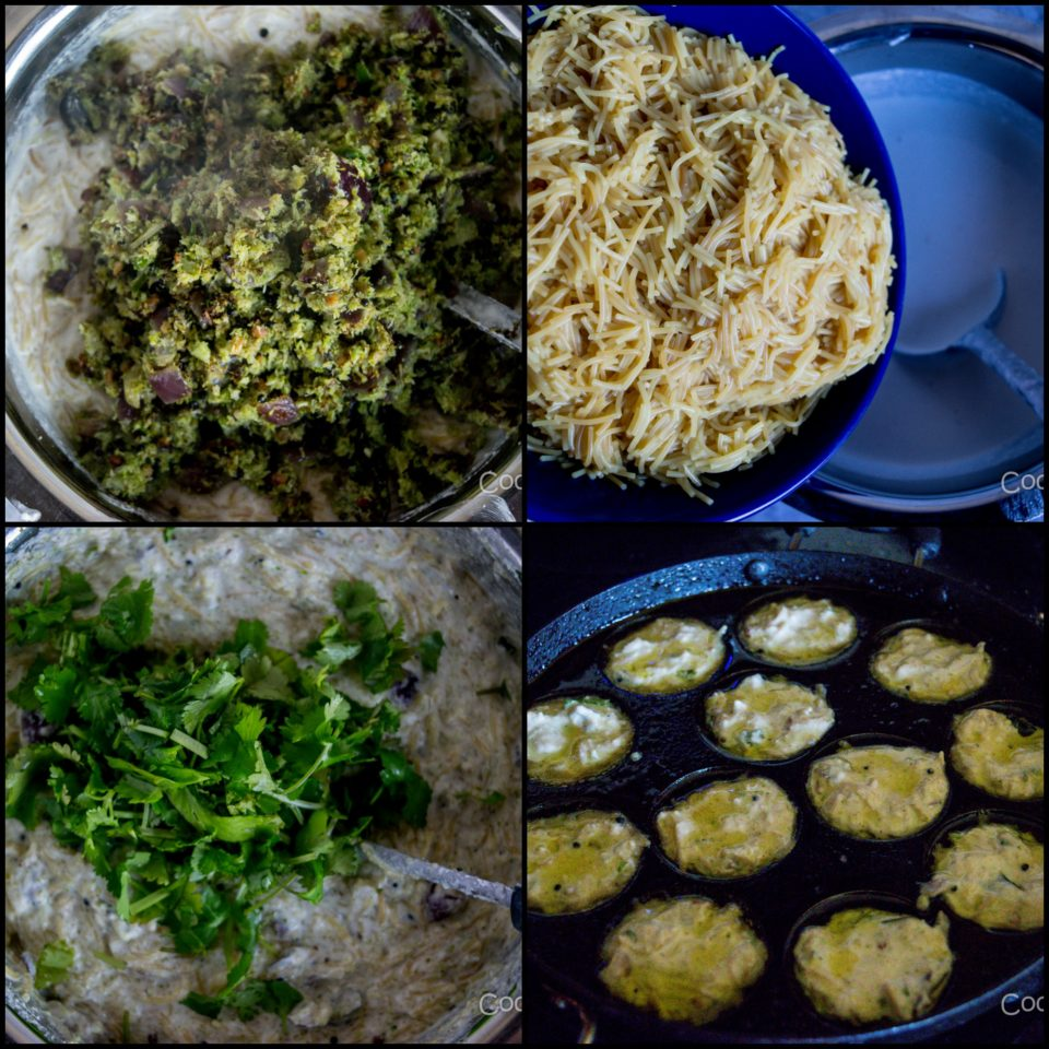 4 steps showing how to make Savory Paniyaram with Vermicelli & Broccoli