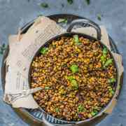 Vegan Matki Usal in a small kadai with a spoon in it