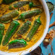 top shot of Mirchi Ka Salaan | Curried Chilly Peppers in a white pan