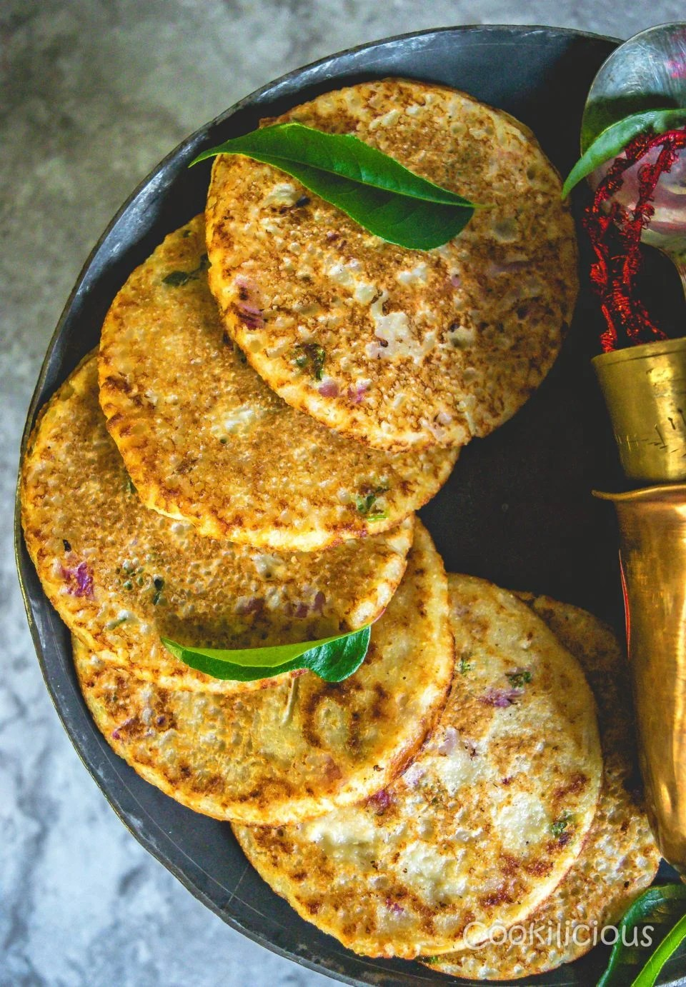 Healthy Oats & Veggie Mini Pancakes arranged one after the other