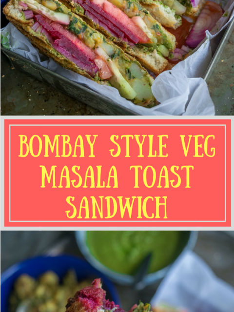 2 images of Bombay Style Veg Masala Toast Sandwich with text in the middle