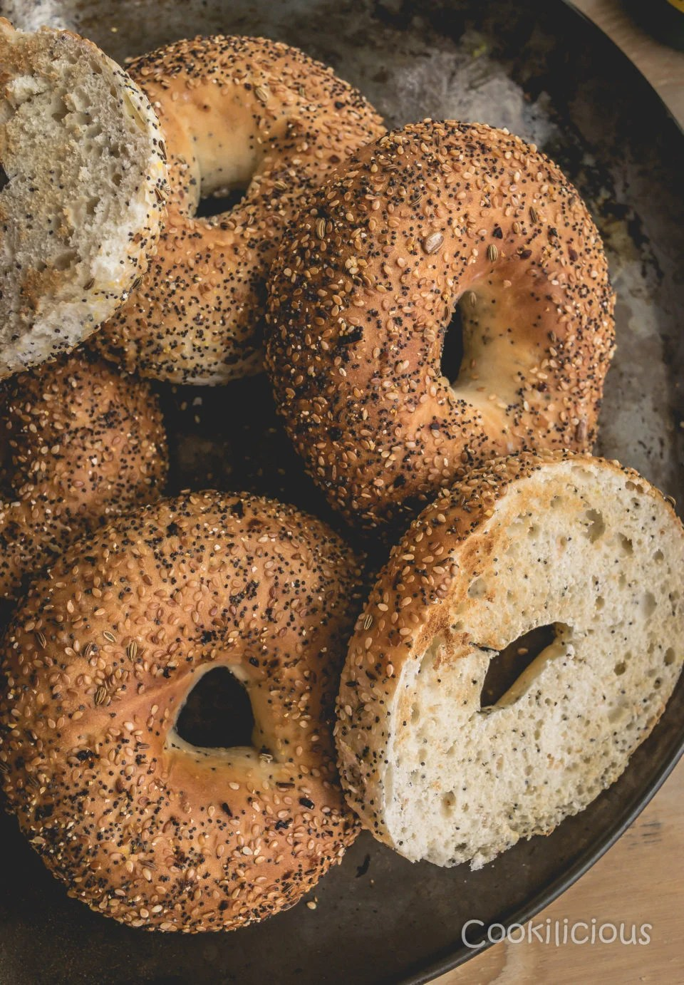 a tray of toasted bagels needed to make Bagel Sliders with Homemade Guacamole