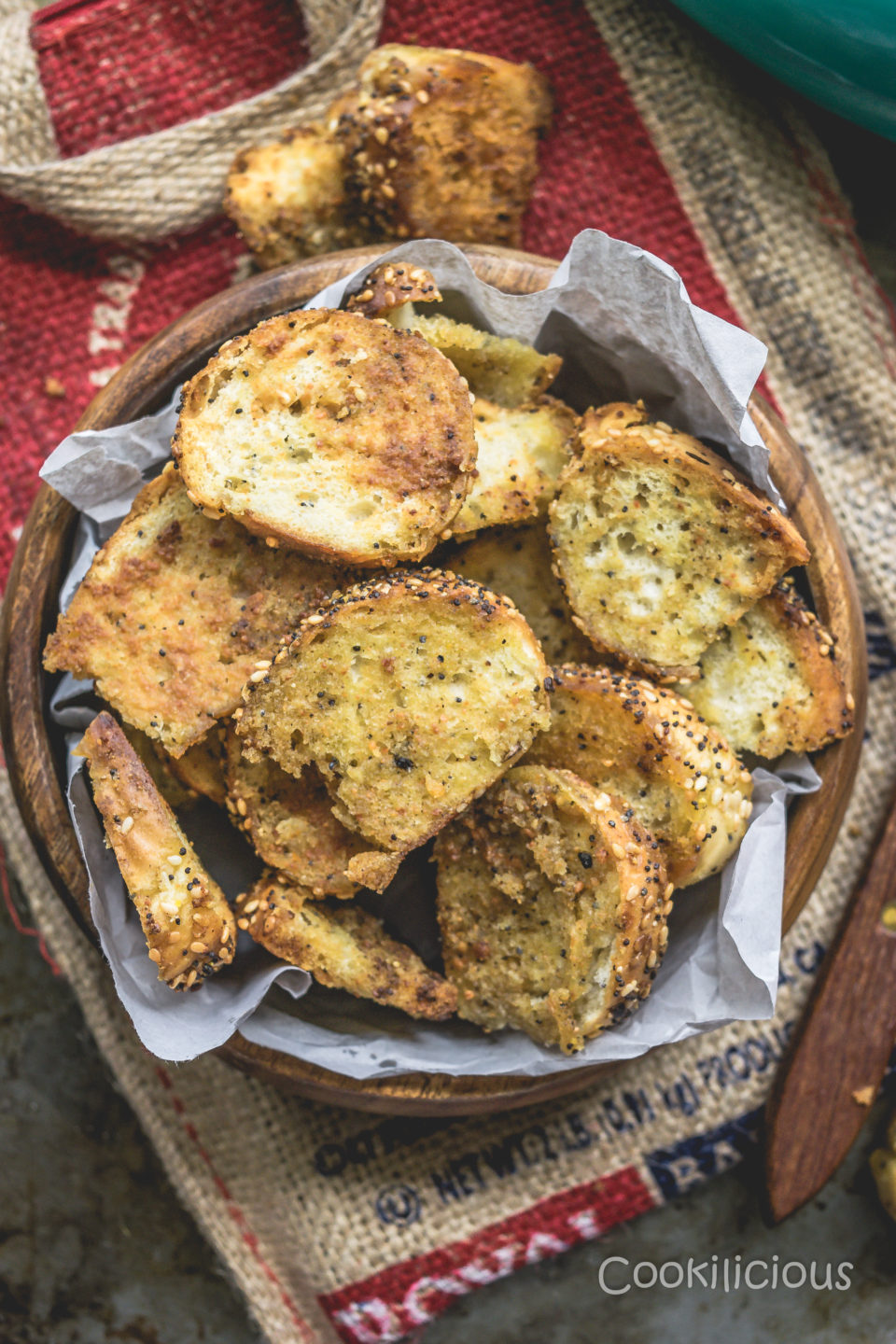 The Best Homemade Baked Bagel Parmesan Chips RecipeAppetizers & Snacks