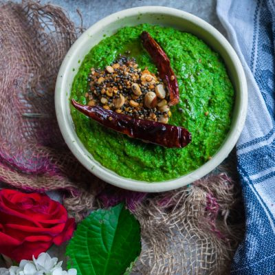 Vegan Spinach & Peanut Chutney | Side Dish for Idli Dosa