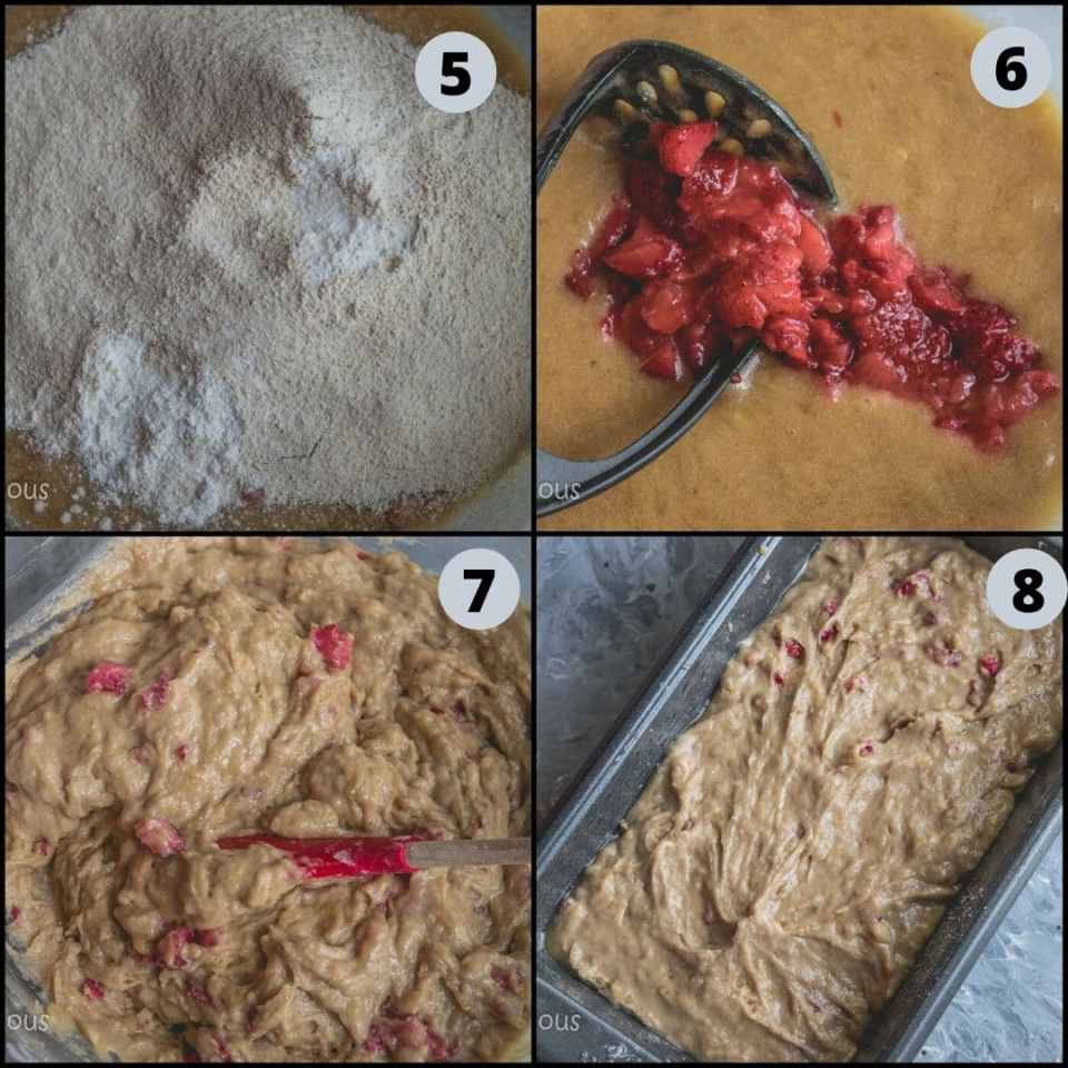 4 image collage showing the steps to make Vegan Banana Strawberry Bread