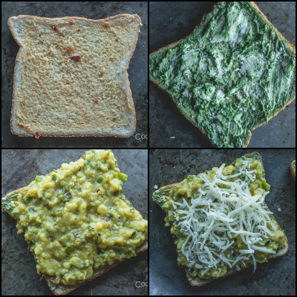 4 images showing the steps to prepare Potato Chilly Garlic Masala Toast