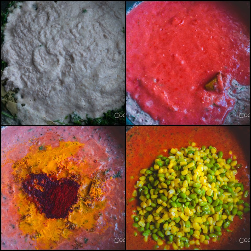 4 images showing the steps to make Edamame & Sweet Corn Gravy