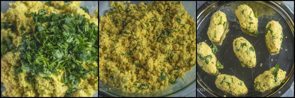 3 images showing the steps to make Spicy Steamed Lentil Balls