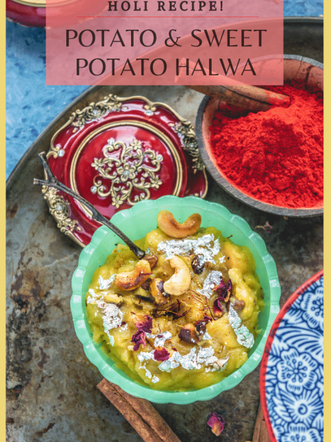 a bowl of halwa with holi colors on the side and text at the top