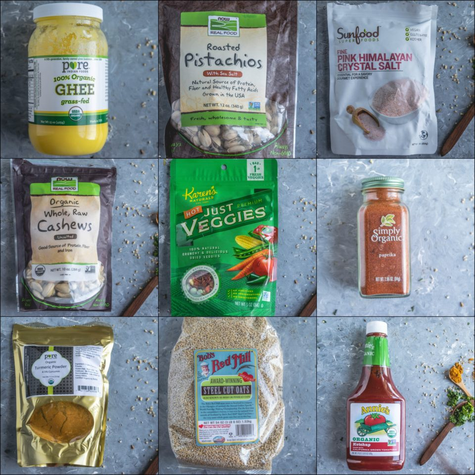 9 image collage showing the ingredients used to make Instant Pot Oats & Vegetable Upma
