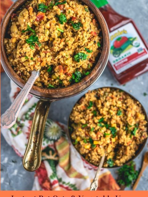 2 bowls of Instant Pot Oats & Vegetable Upma with a ketchup bottle on the side and text at the bottom