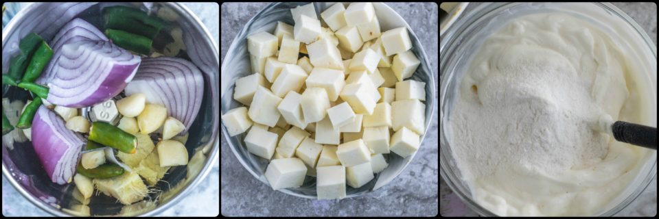3 images showing how Achari Paneer Masala is made
