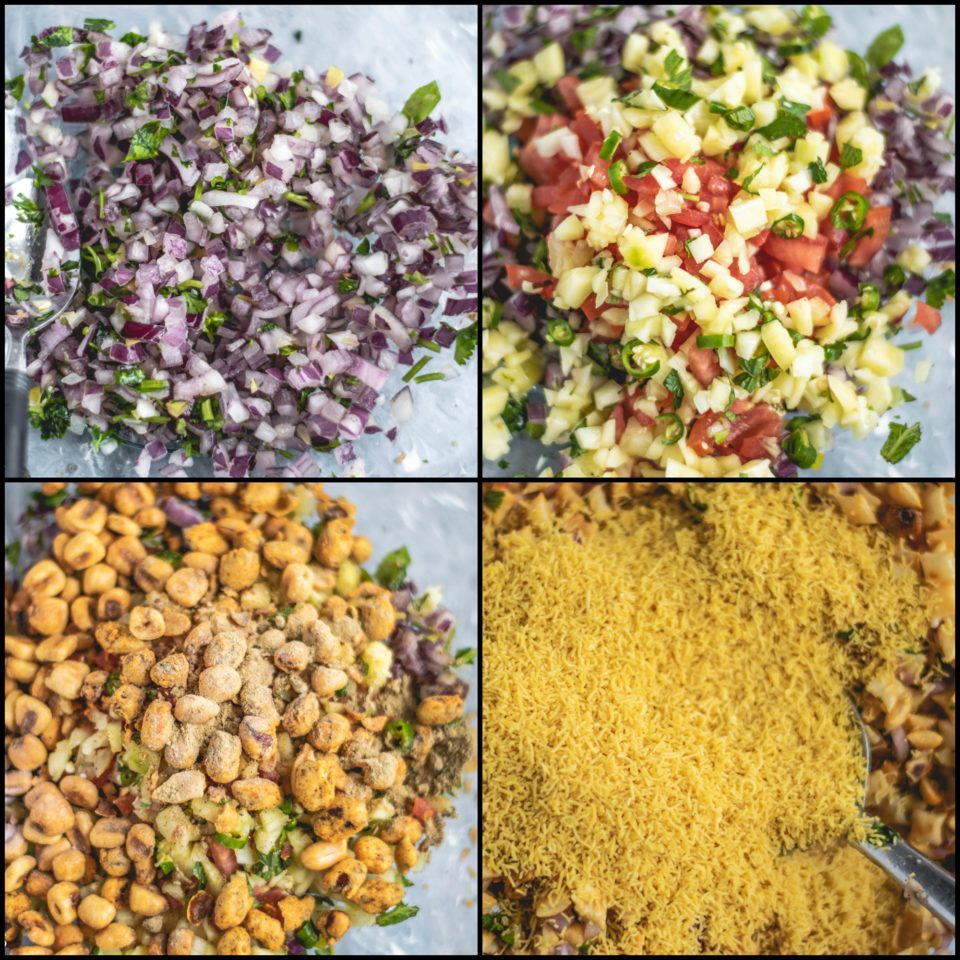 4 image collage showing the steps to make 2 bowls containing Crispy & Masaledar Cheeselings Bhel