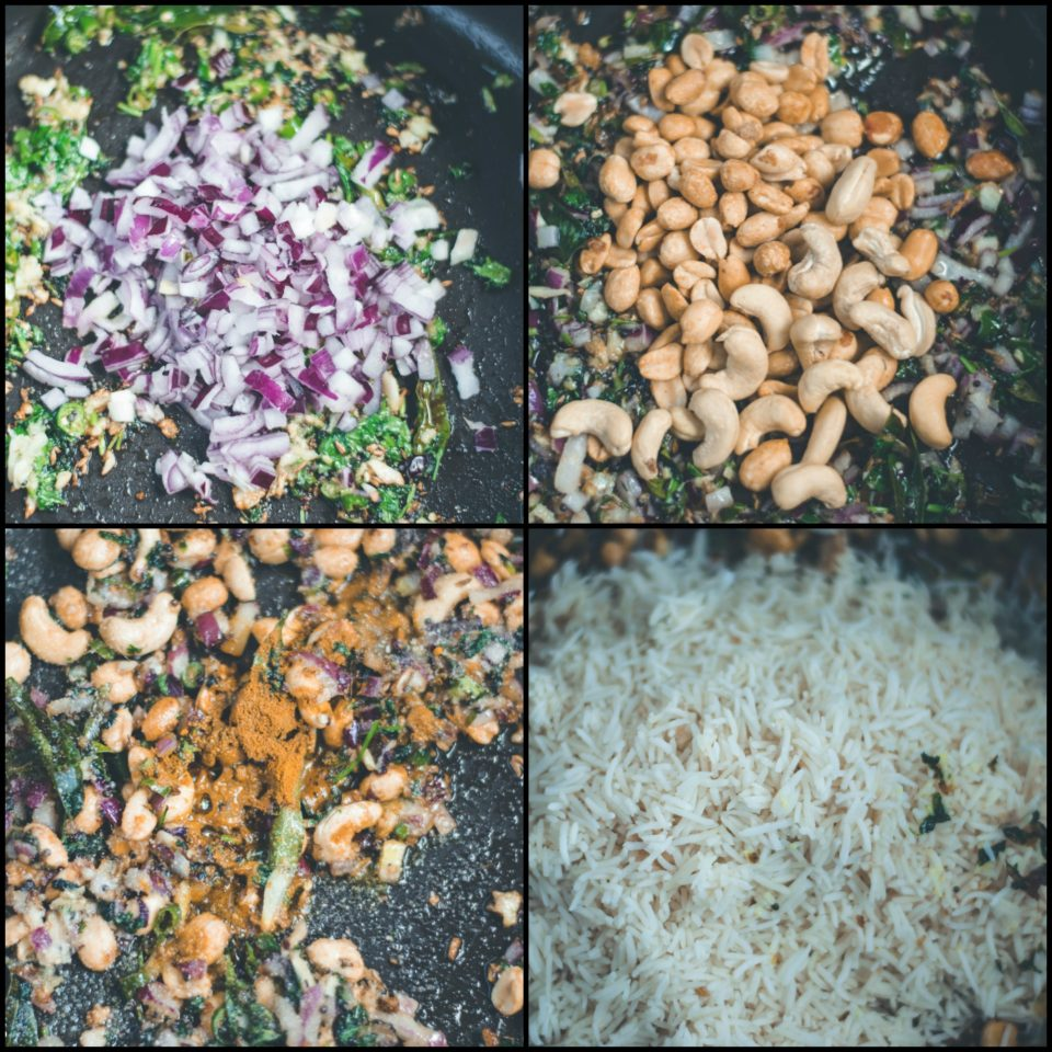 4 image collage showing the steps to make Masale Bhat