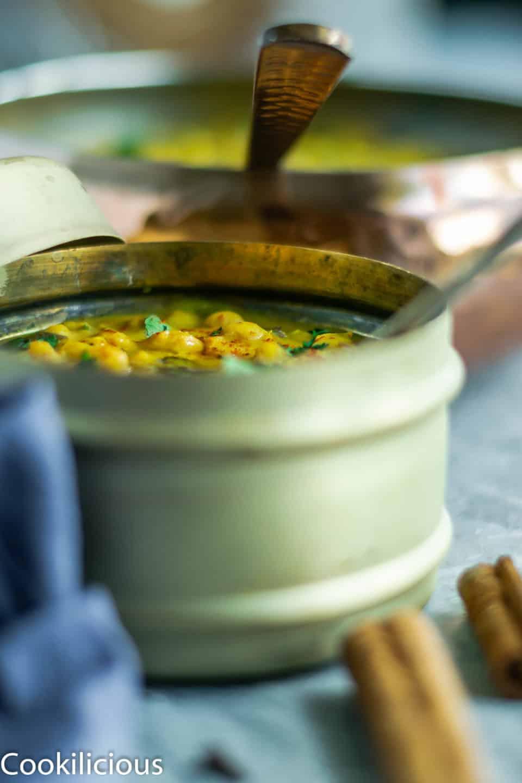 side angle shot of Himachali Chana Madra in a lunchbox
