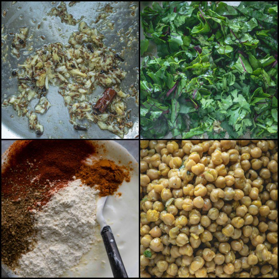4 image collage showing the steps to make Himachali Chana Madra