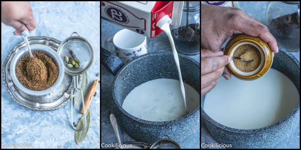 3 image collage showing the steps to make the Indian masala chai