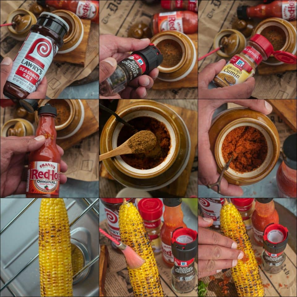 9 image collage showing the steps to make Indian Street Style Corn On The Cob