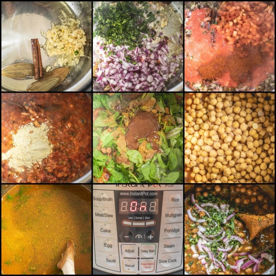 9 image collage showing the steps to make chana palak