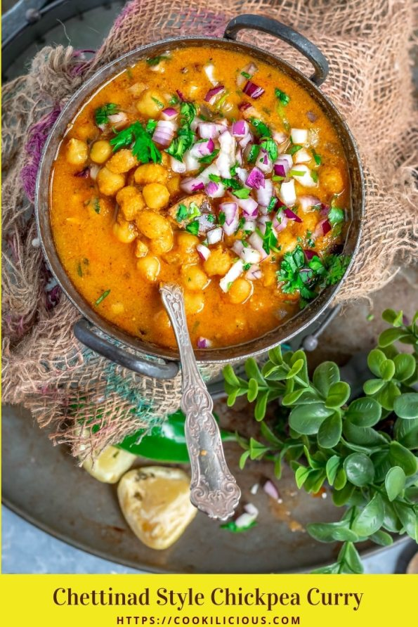South Indian Chickpeas Curry | Chettinad Kondai Kadalai Kuzhambu in a kadai with a bunch of cilantro on the side and text at the bottom