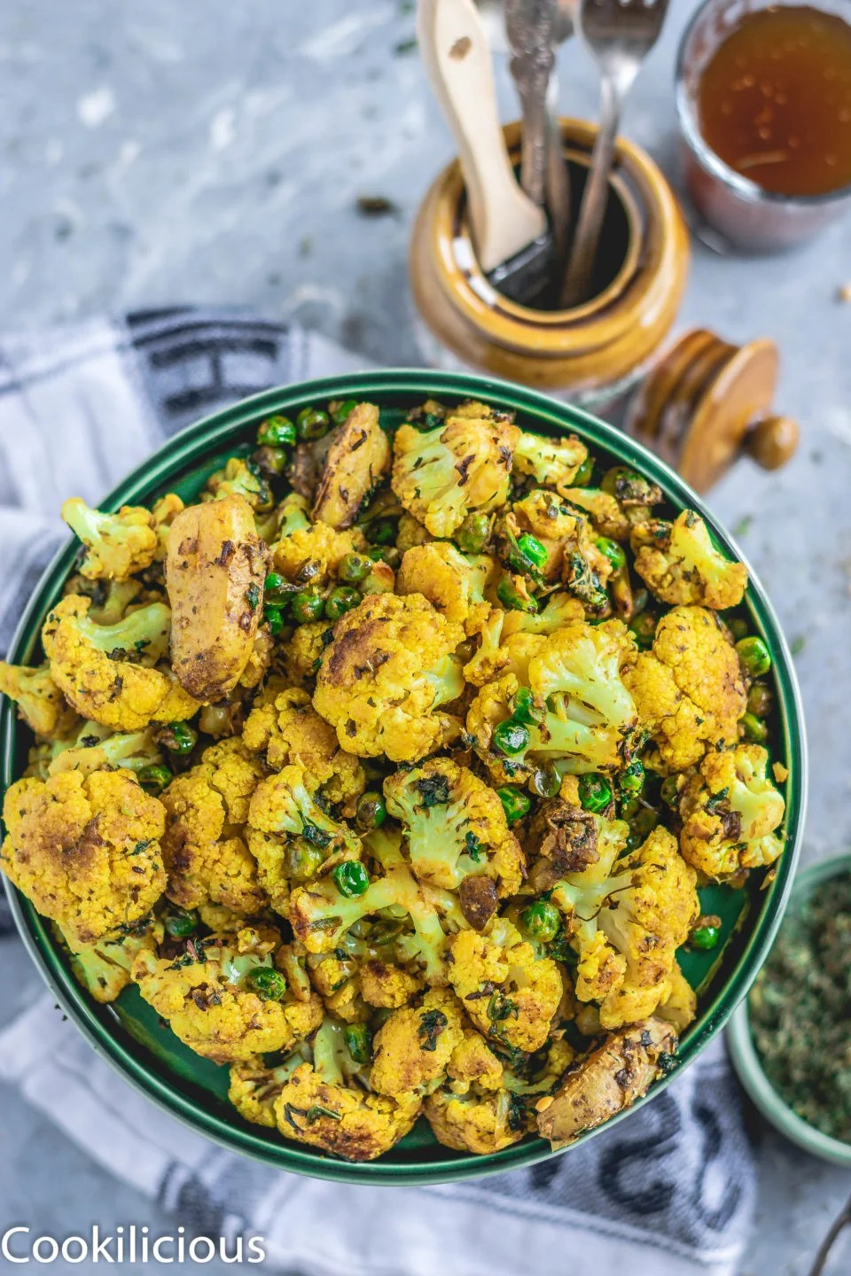 top angle shot of a plate filled with Gobi Methi