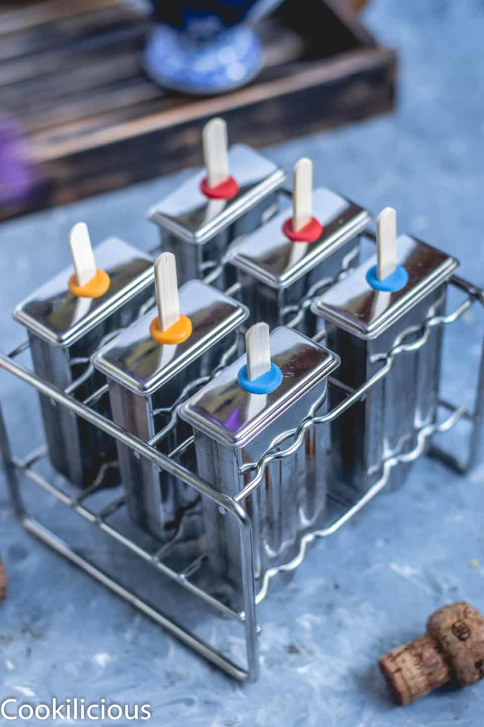 Masala Soda Blueberry Popsicles in a Popsicle molds