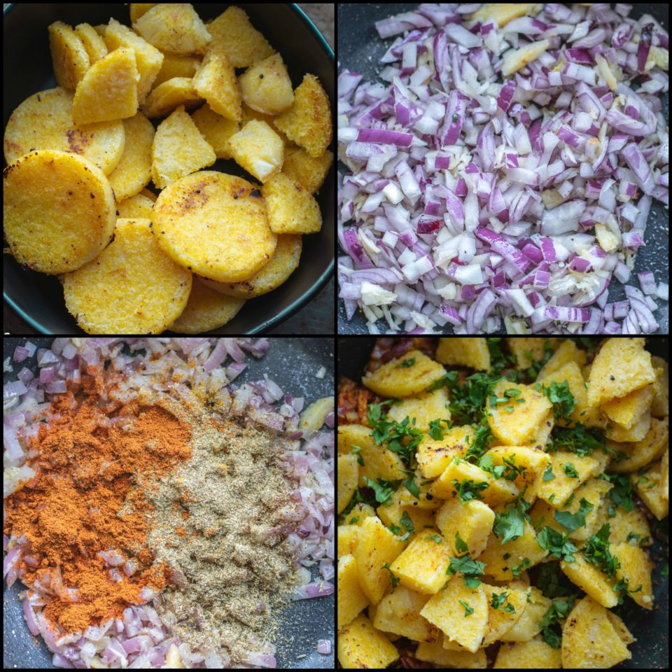 4 image collage showing the steps to make Iranian Style Gluten Free Polenta Cake Stir Fry