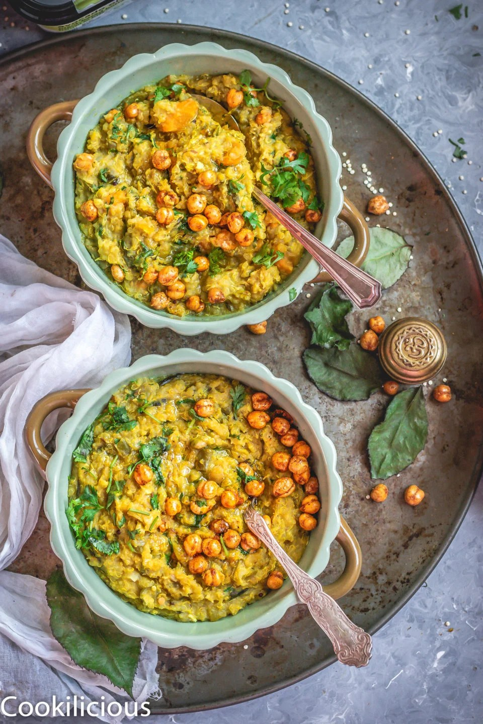 2 bowls of Instant Pot Quinoa & Chickpeas Khichdi in a tray