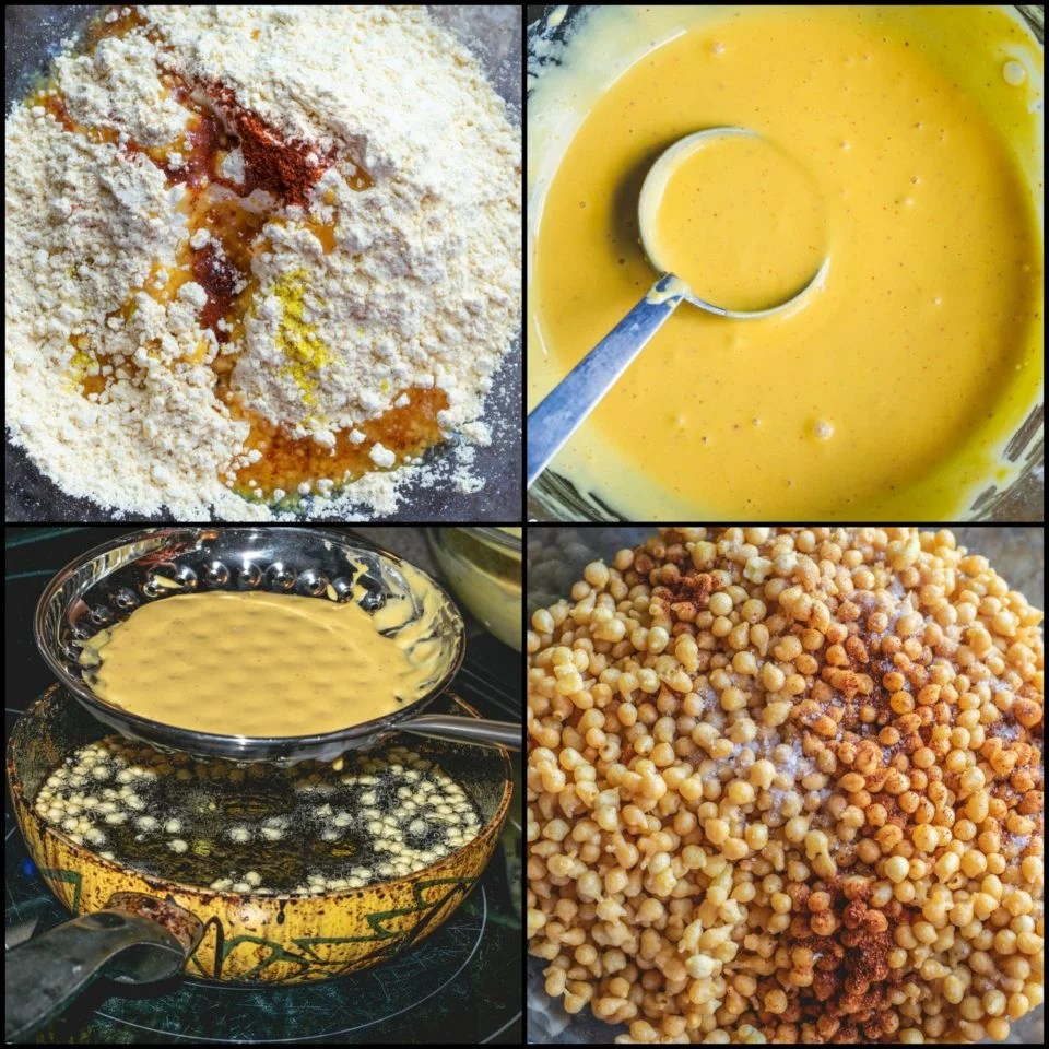 4 image collage showing the steps to male Kara Boondi Mixture
