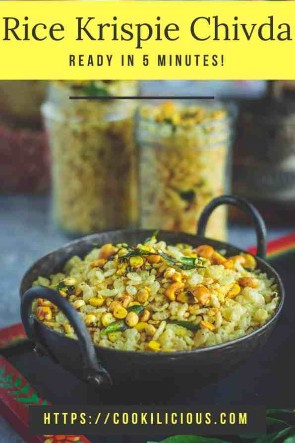 Rice Krispie Chivda in a small kadai with text at the top & bottom