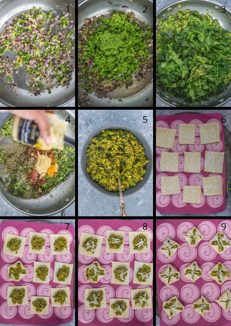 9 image collage showing the steps to make Spicy Green Peas & Spinach Pastry Puffs