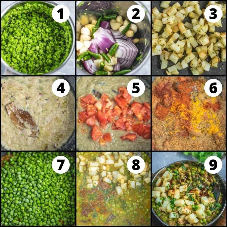 9 image collage showing the steps to make Mutter ka nimona