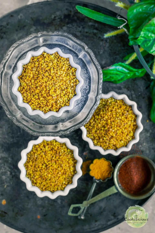 3 bowls of Crunchy Moong Dal