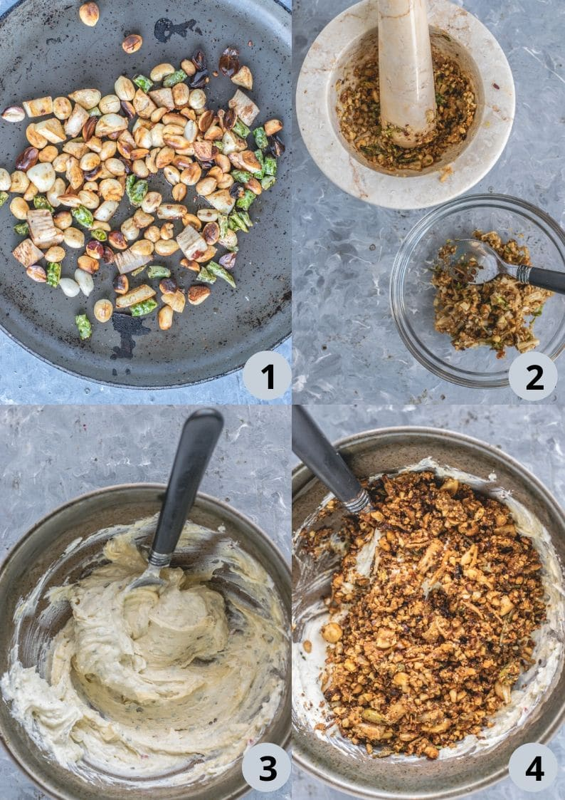 4 image collage showing the steps to make Thecha Flavored Garlic Herb Butter