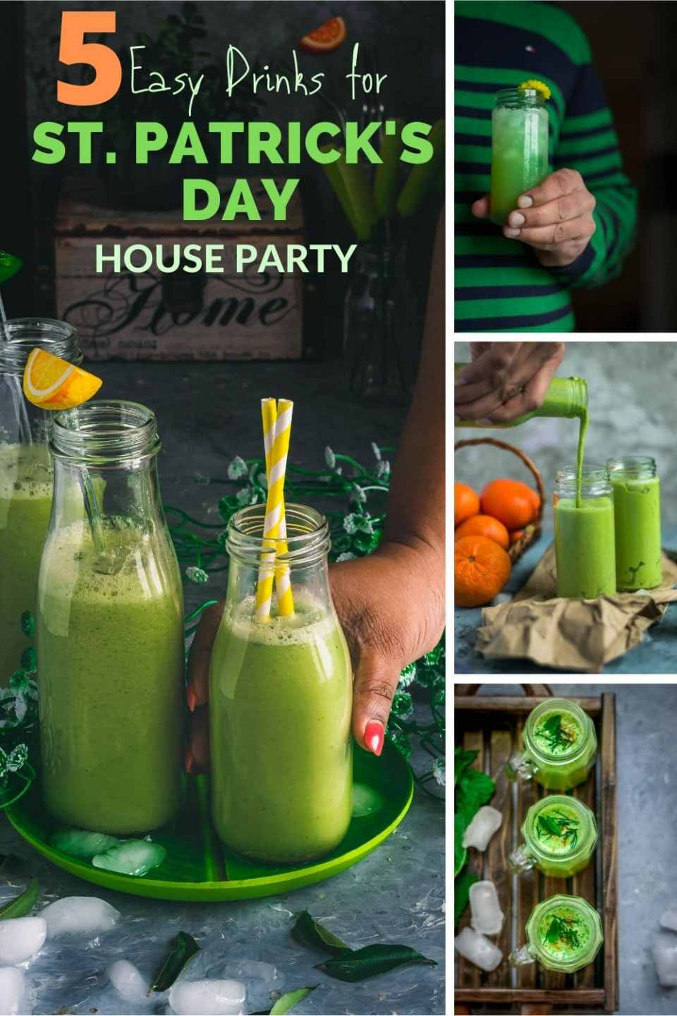 collage of Green Drinks For St. Patrick's Day with text on top