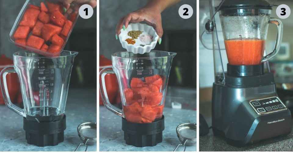 3 image collage showing how to make watermelon juice recipe - Sugar Free Drink