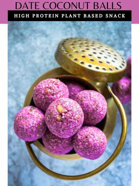 top shot of Frozen Raspberry Date Coconut Balls in a brass bowl and text at the top