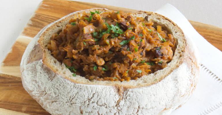Polish traditional Bigos with meat