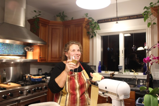Me multitasking - rolling pasta and drinking wine.