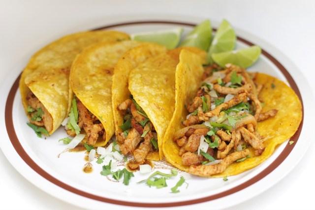 tacos made with corn tortillas