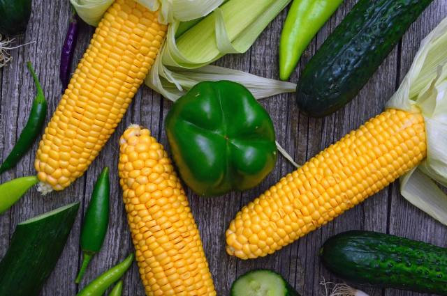 fresh corn with vegetables