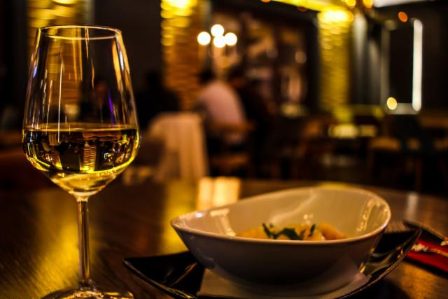 white wine with delicious dish