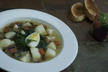 Soup - Green Borscht - Green Borscht With Honey Agaric Mushrooms