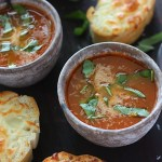 This classic and easy tomato basil soup recipe is slowly simmered with diced tomatoes, onions, garlic, basil, and other fresh herbs.