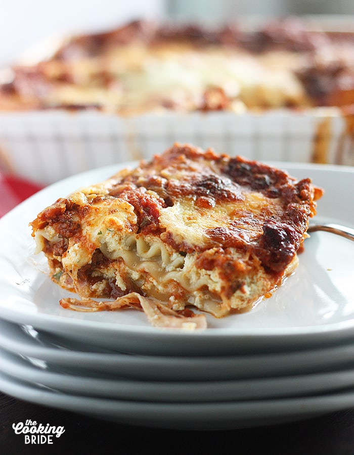 By far the best lasagna you'll ever have -- packed full of rich, meaty, slowly simmered tomato sauce and melty mozzarella cheese.