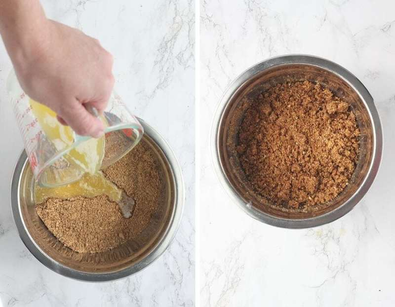 Left, pouring melted butter into a metal bowl of crushed graham crackers. Right, graham cracker crumbs and butter mixed together in a metal bowl.