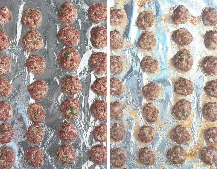 vension meatballs on a foil lined baking sheet